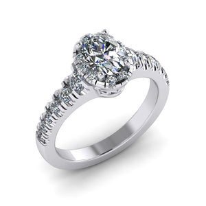 LEE-1211 Oval Engagement Ring 1/2 Carat TDW