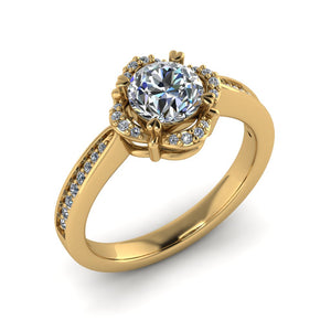 LEE-1222 Round Engagement Ring 1/5 Carat TDW