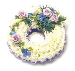 Massed Wreath With Lilac Spray