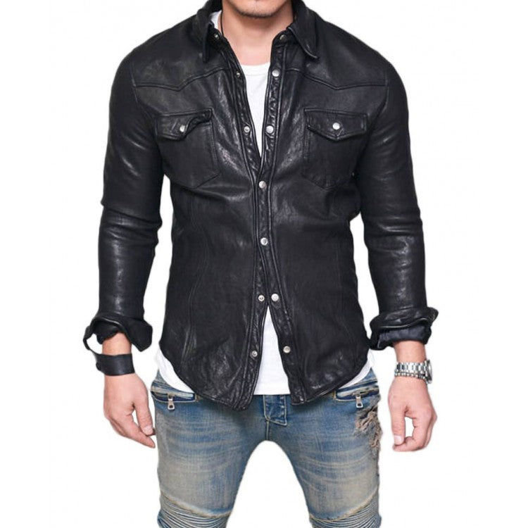 Men/'s Real Leather Collared Full Sleeve Shirt