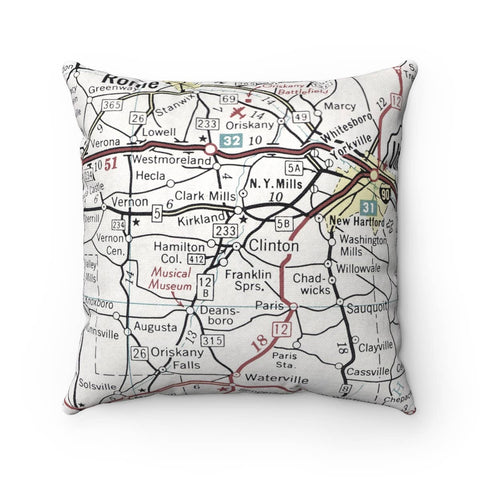 Clinton New York Map Pillow