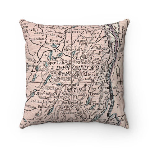 Adirondack Mountains New York Map Pillow