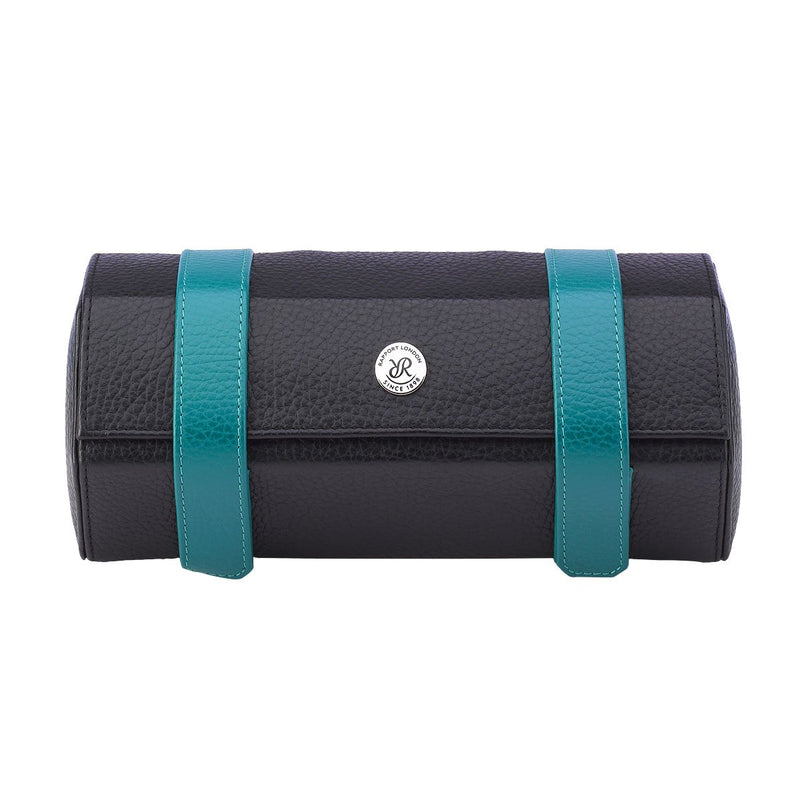 Rapport-Watch Accessories-Cooper Three Watch Roll-Black and Teal