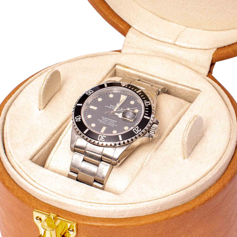 Rapport-Watch Box-Vintage Round Watch Box-Tan
