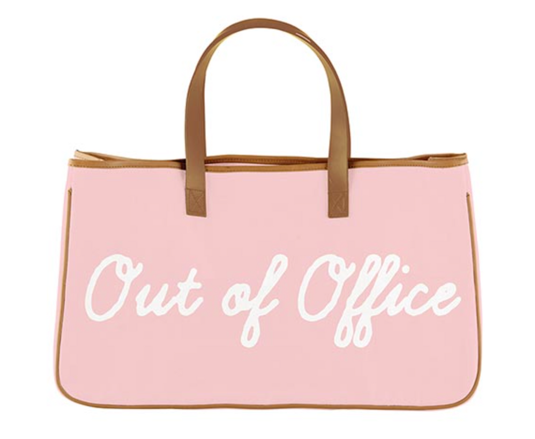 Pink Canvas Tote - Out of Office