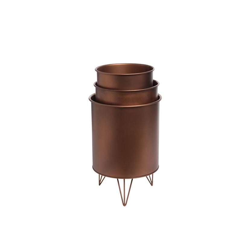 Copper Hairpin Nested Bins, Set of 3