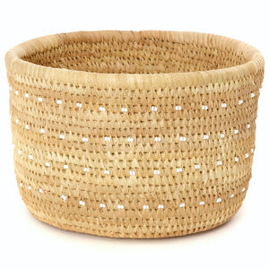 Small Nomadic Basket with White Dotted Beads