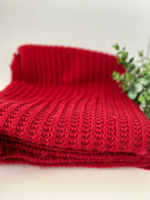 The Red Cable Knit Throw