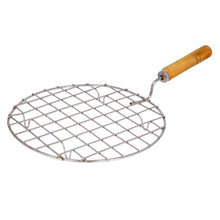Load image into Gallery viewer, 2085 Kitchen Round Stainless Steel Roaster Papad Jali, Barbecue Grill with Wooden Handle