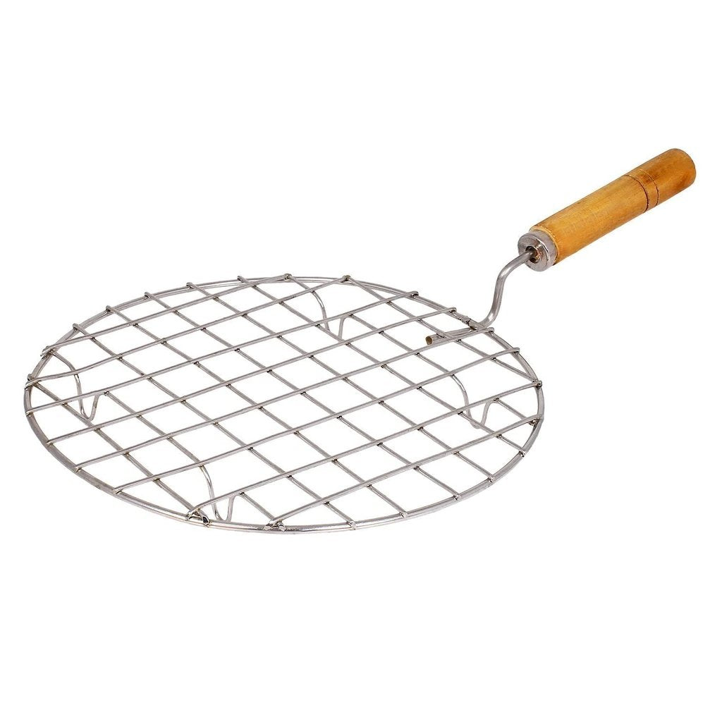 2085 Kitchen Round Stainless Steel Roaster Papad Jali, Barbecue Grill with Wooden Handle
