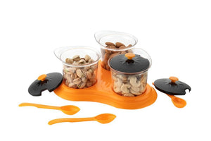 0609 Multipurpose Dining Set Jar and tray holder, Chutneys/Pickles/Spices Jar - 3pc