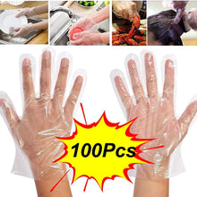 Load image into Gallery viewer, 0670 Plastic Transparent Disposable Clear Gloves (White) (100Pc) - DeoDap