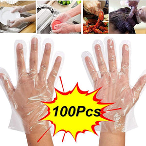 0670 Plastic Transparent Disposable Clear Gloves (White) (100Pc) - DeoDap