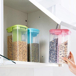 2147 Plastic 2 Sections Air Tight Transparent Food Grain Cereal Storage Container (2 ltr) - DeoDap