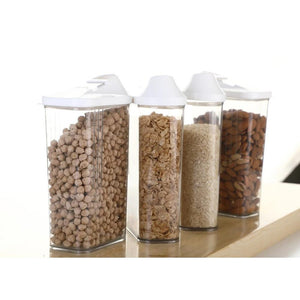 0096 Plastic Easy Flow Storage Jar with Lid (750ml, Set of 6) - DeoDap