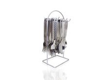 Load image into Gallery viewer, 2095 Stainless Steel Cutlery Set with Stand - Pack of 24(Silver)
