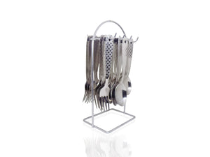 2095 Stainless Steel Cutlery Set with Stand - Pack of 24(Silver)