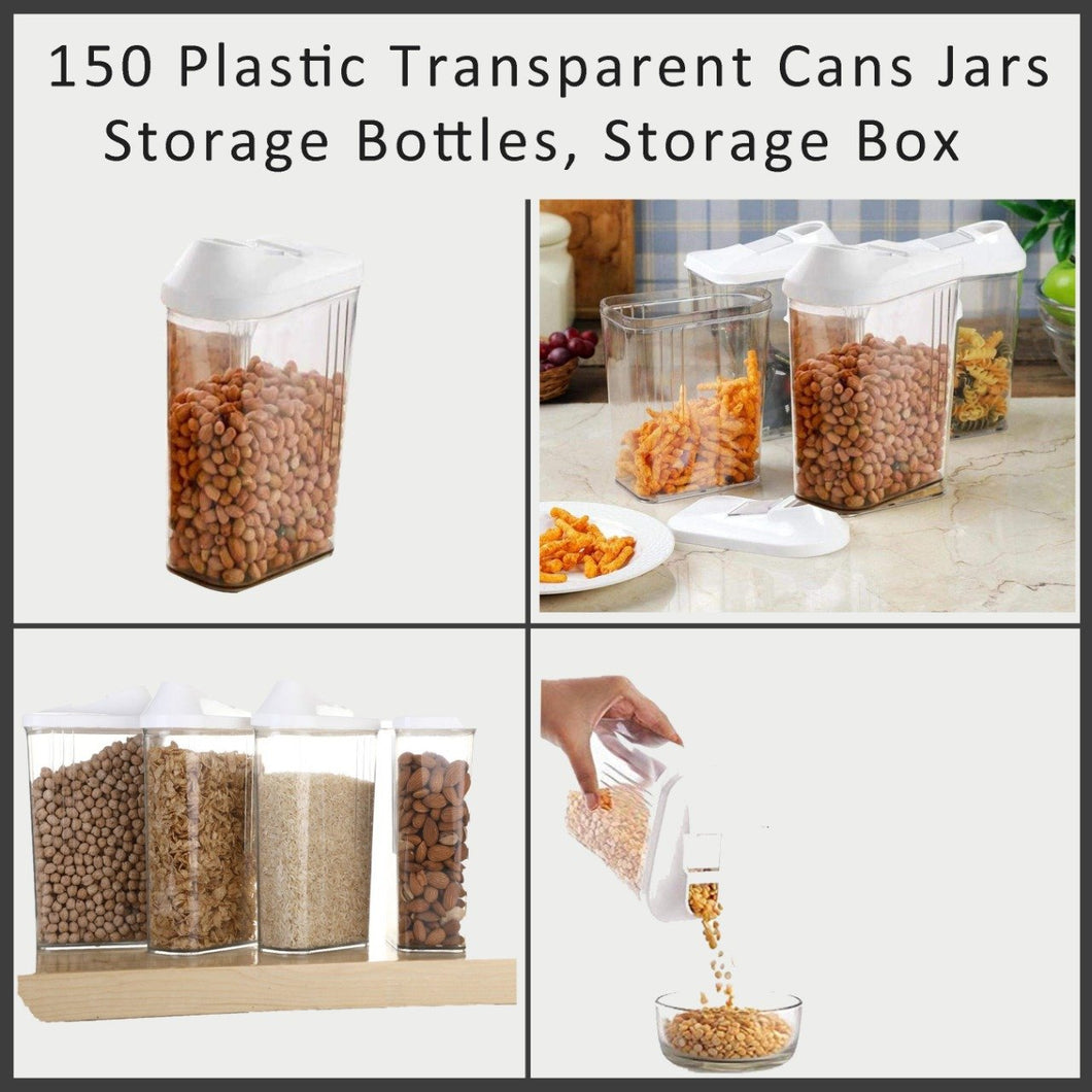 0150 Plastic Transparent Cans Jars, Storage Bottles, Storage Box (1700 ml, 1 pc) - DeoDap