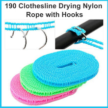 Load image into Gallery viewer, 0190 Clothesline Drying Nylon Rope with Hooks - DeoDap