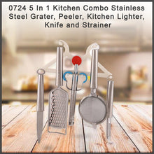 Load image into Gallery viewer, 0724 5 In 1 Kitchen Combo - Stainless Steel Grater, Peeler, Kitchen Lighter, Knife and Strainer - DeoDap