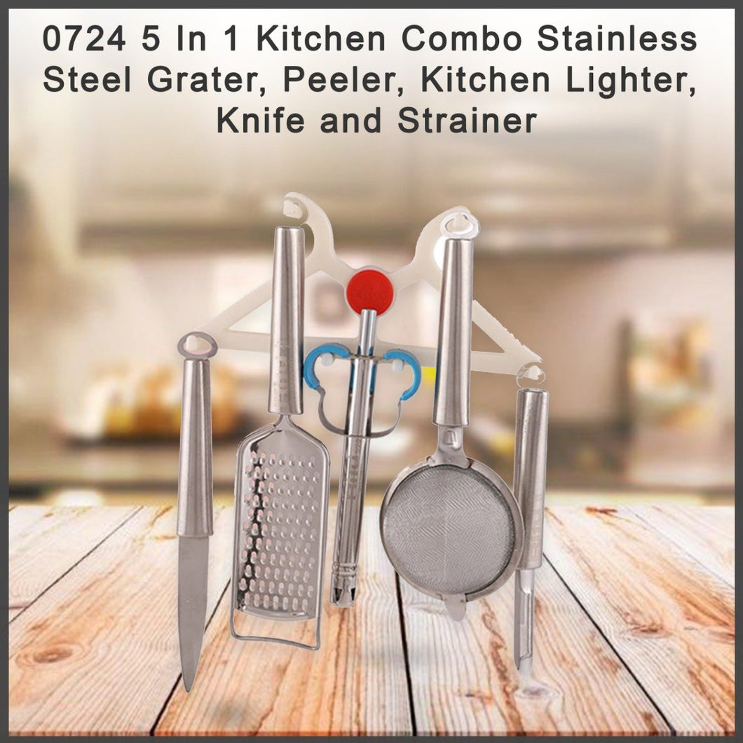 0724 5 In 1 Kitchen Combo - Stainless Steel Grater, Peeler, Kitchen Lighter, Knife and Strainer - DeoDap