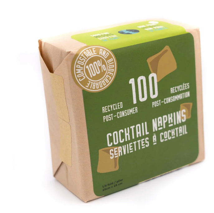 Paquet de 100 serviettes a cocktail 25x25cm biodegradables