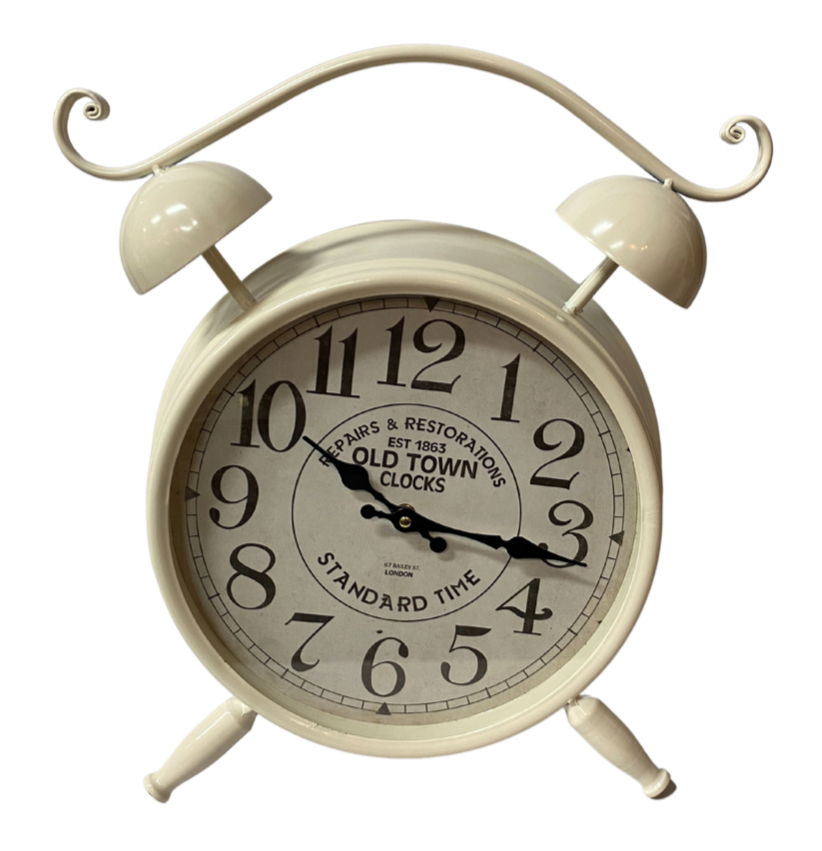 White Old Town Table Clock Imperial Gifts And Decor