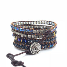 Load image into Gallery viewer, Black Leather Bracelet Onyx Woven from United State - Stylish boutiques