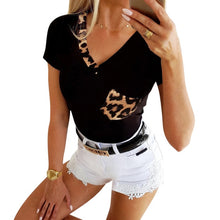 Load image into Gallery viewer, Black Leopard T-shirts Streetwear  for Women from United State - Stylish boutiques