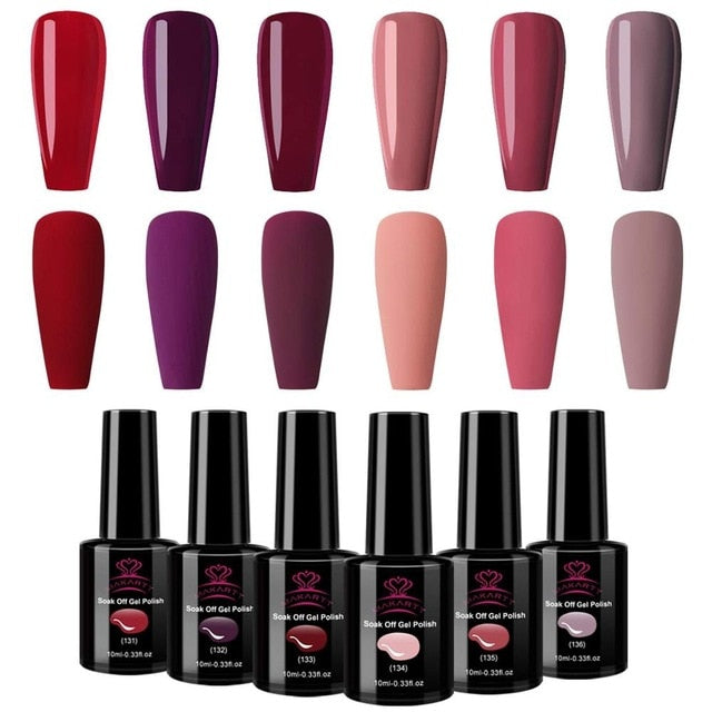 Makartt Soak Off Gel Nail Polish Set 10 ML 6 Bottles Fashion Colors in Winter from united state - Stylish boutiques