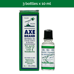 3x 10ml AXE BRAND Universal Oil for headaches, stomach aches, sprains, pains