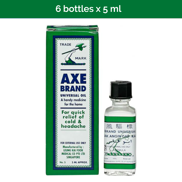 6 x 5ml AXE BRAND Universal Oil for headaches, stomach aches, sprains, pains
