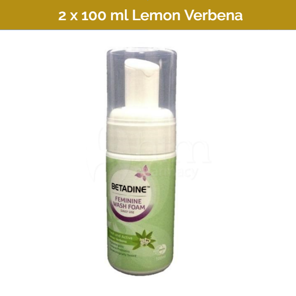BETADINE Daily Feminine Wash Foam Pump with Lemon Verbena Fragrance - 2x 100ml