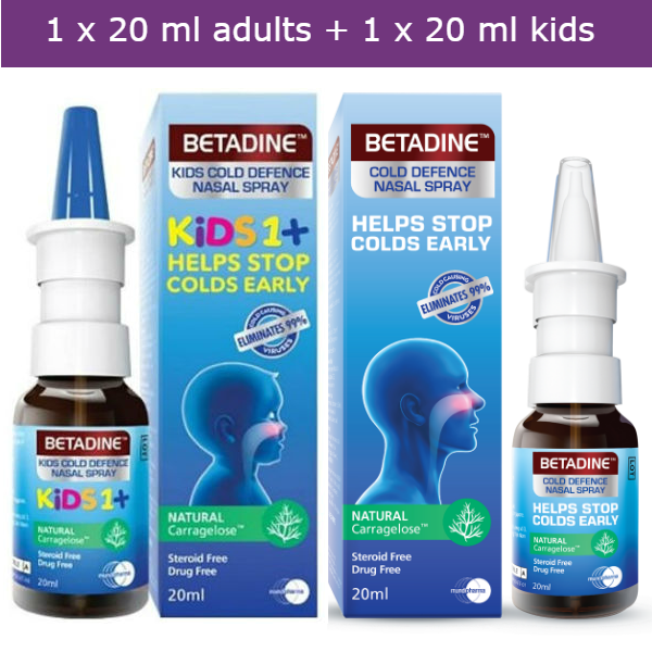 BETADINE Cold Defence Nasal Spray for adults + kids kills most cold/flu viruses