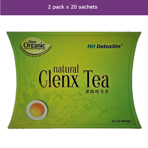 2 x 20 bags CLENX Organic Green Tea + Herbs for detox and weight loss