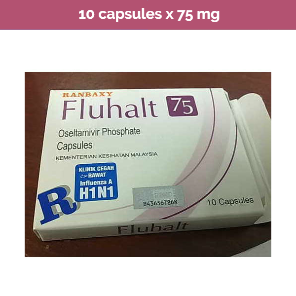 Fluhalt 10 x 75mg Oseltamivir capsules -Anti-Viral Treatment for Influenza A & B