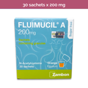 Fluimucil 200mg Powder to clear mucus and phlegm from lungs, bronchi, trachea