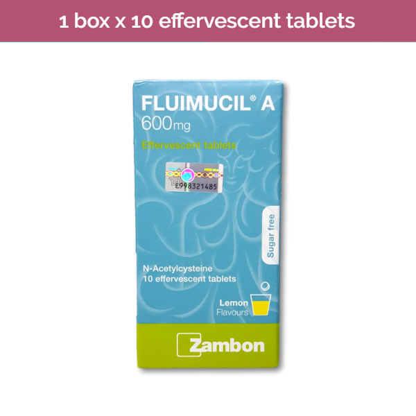 Fluimucil 600mg Effervescent Tablets clear phlegm from lungs, bronchi, trachea