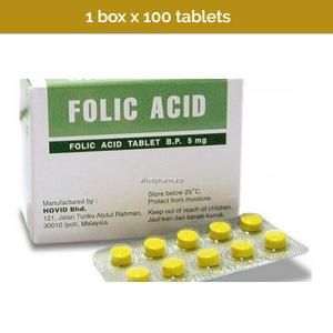 100s Folic Acid 5mg tablets in blister strips by Hovid