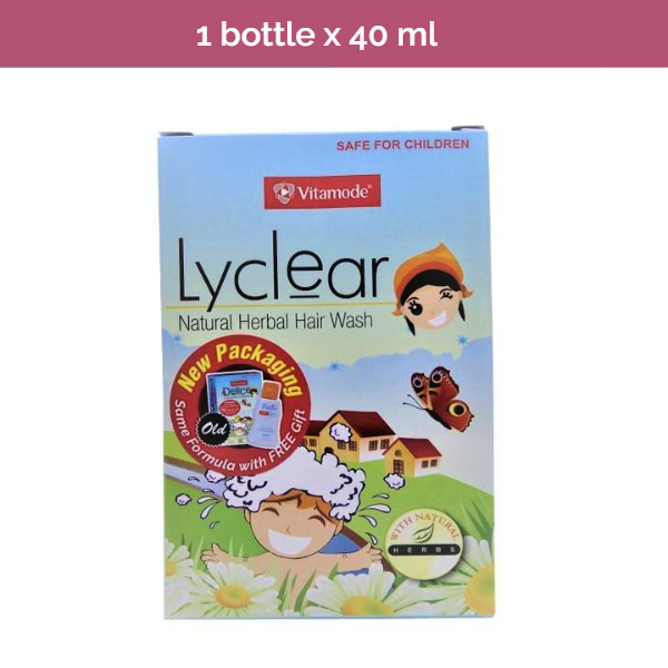 LYCLEAR Natural Herbal Hair Wash to kill and combat hair lice infestation- 40ml
