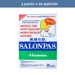 3x SALONPAS 20s muscle & joint pain, sprains, arthritis relief patches