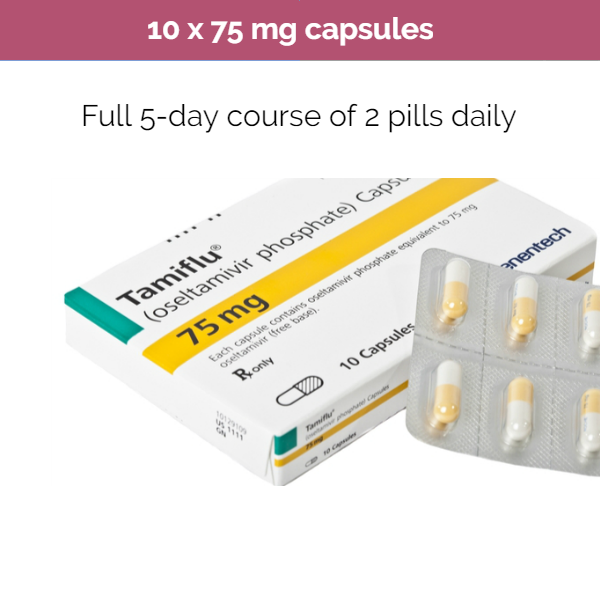 Tamiflu 10 x 75mg Oseltamivir capsules -Anti-Viral Treatment for Influenza A & B