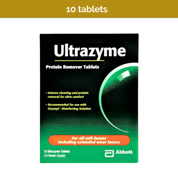10s ULTRAZYME Contact Lens Protein Remover Tablets for a 10-weeks supply