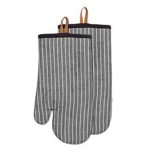 Chambray Stripe Oven Mitts Set of 2 Black