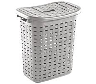Laundry Hamper Wicker Weave Cement