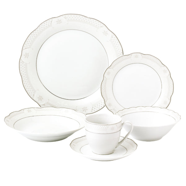 LORREN HOME TRENDS ATARA DESIGN 24 PIECE WAVY DINNERWARE PORCELAIN SERVICE FOR 4