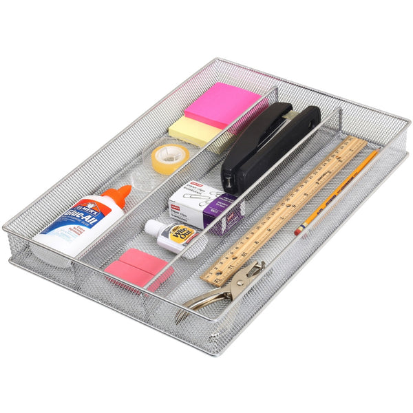 Mesh Utensil Drawer Organizer with 3 Compartments