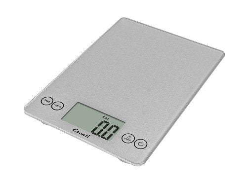 Escali Arti Glass Digital Kitchen Scale 15Lb/7Kg - Shiny Silver