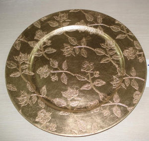 "13"" GOLD CHARGER PLATE WITH FLORAL DESIGN"