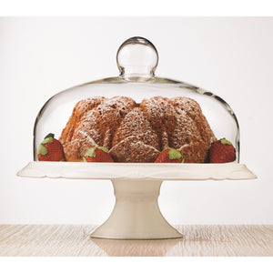 Bianco Pedestal Cake Plate and Dome 30cm